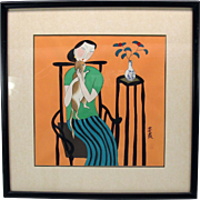 Signed Japanese watercolor of a Woman with a cat
