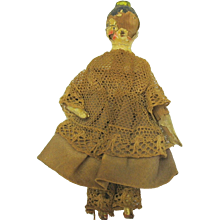 19th Century Grodnertal peg wooden doll with comb Attic condition
