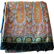 Antique 11 1/2 foot long Kashmir woven paisley shawl black center