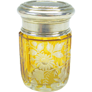 Fine 800 silver and amber glass cut to clear flowers dresser jar