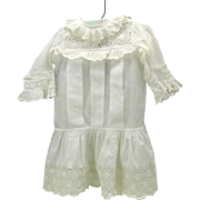 "Antique white dress for a 24"" Tete Jumeau"