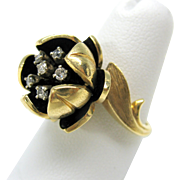 Vintage 14k gold and diamonds Flower ring-heavy Size 7.5
