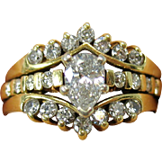 Vintage 14k pear shaped diamond ring with separate diamond ring setting Size 6.75 to 7