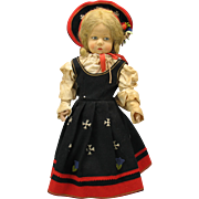 """19"""" Lenci felt doll side glancing with original outfit"""