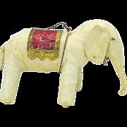 """Large antique spun cotton Elephant Christmas ornament 3"""" by 4 1/2"""""""