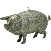 Antique Dresden Christmas ornament-chunky large Pig