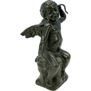 Antique Cherub cabinet bronze figure-very sculptural