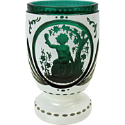 Antique intaglio engraved white cut to green Bohemian glass water goblet Bacchus