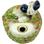 Antique Staffordshire pottery inkwell Bird on nest with eggs and snake