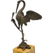 Victorian bronze figure of a Crane bird with a snake on a turtle