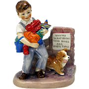 "Royal Worcester Wartime figure figurine by E. Soper ""Salvage"" Boy with toys & Corgi puppy"