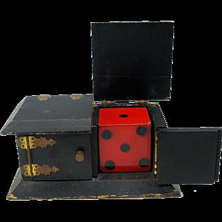 Antique Magicians prop big dice trick box