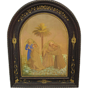 Fine early watercolor of Angels with Monks custom gilded walnut Cathedral frame