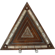 Antique 3 player Cribbage board-Rosewood with Mother of pearl inlay