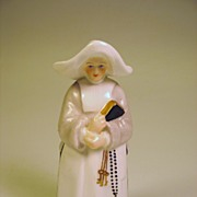 1880's Royal Worcester porcelain figural candle snuffer of a Nun