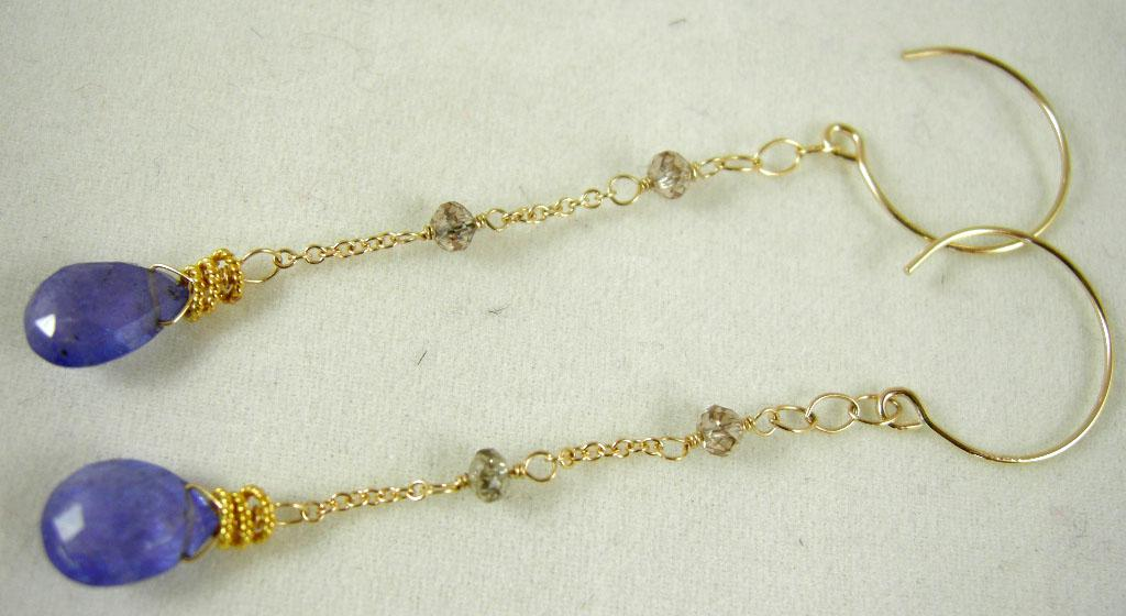 14K Solid Gold~ AA Tanzanite & Champagne Diamond Earrings~RR