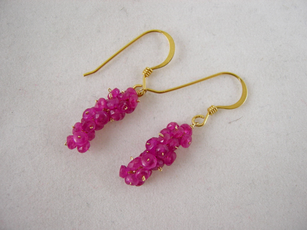18k solid Gold~ AAA Pink Sapphire mini-cluster earrings!