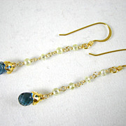 18K Solid Gold~AAA Canary Diamonds & London Blue Topaz  earrings~ WOW!
