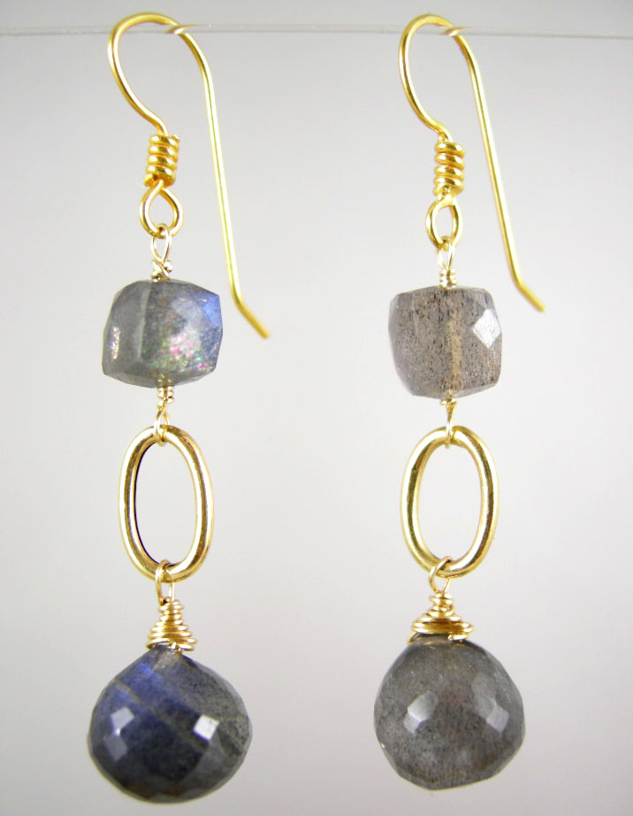 18K Solid Gold~ AA Blue Flash Labradorite Earrings