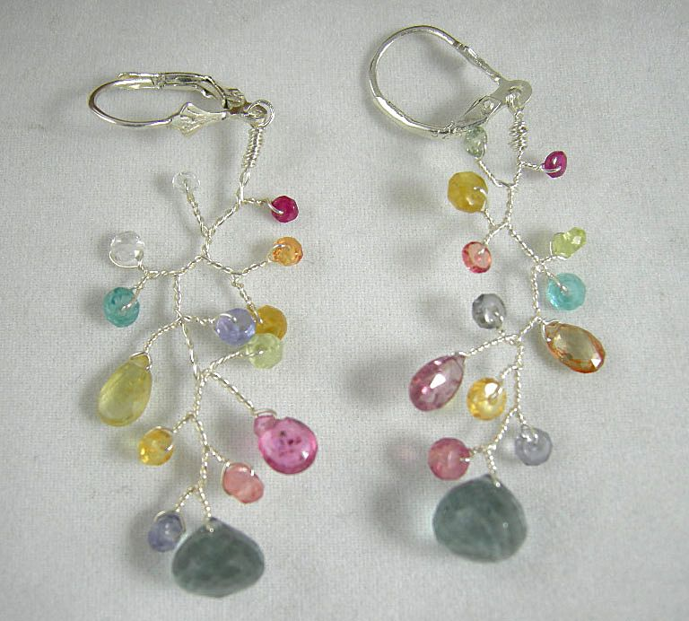 Sterling Silver~ Botanica Earrings w/ multi-gems