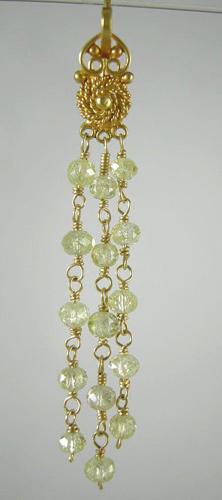 18K Solid Gold~ VVS2 Canary Diamond earrings