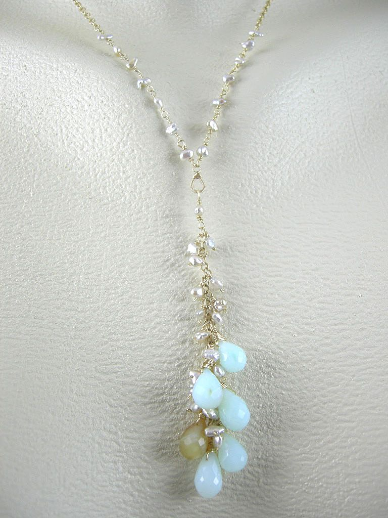 18K Solid Gold~AAA Peruvian Opal & Japanese Keishi Pearl Necklace & earrings set~ RESERVED~for JOE