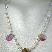 18k Solid Gold~ Japanese Salt Water Keishi Pearls & Watermelon Tourmaline Slice Necklace NEW!!