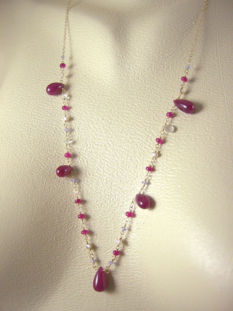 "18K Solid Gold~ Ruby, Tanzanite, Keishi Pearl ""princess"" necklace!!"