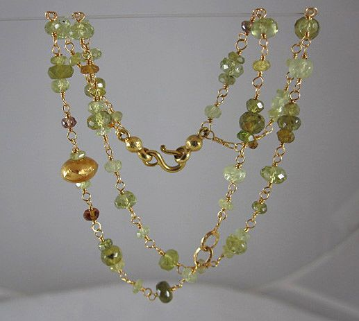 22K Solid Gold~ Mali Garnet Double-Strand Bracelet~