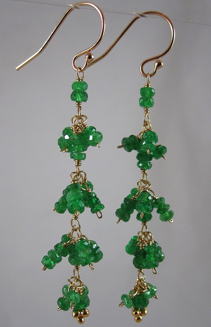 18K Solid Gold~ AAA Tsavorite Fringe Earrings 2""