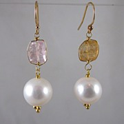 18k Solid Gold~ AAA 10mm Cultured pearls & Kunzite Earrings