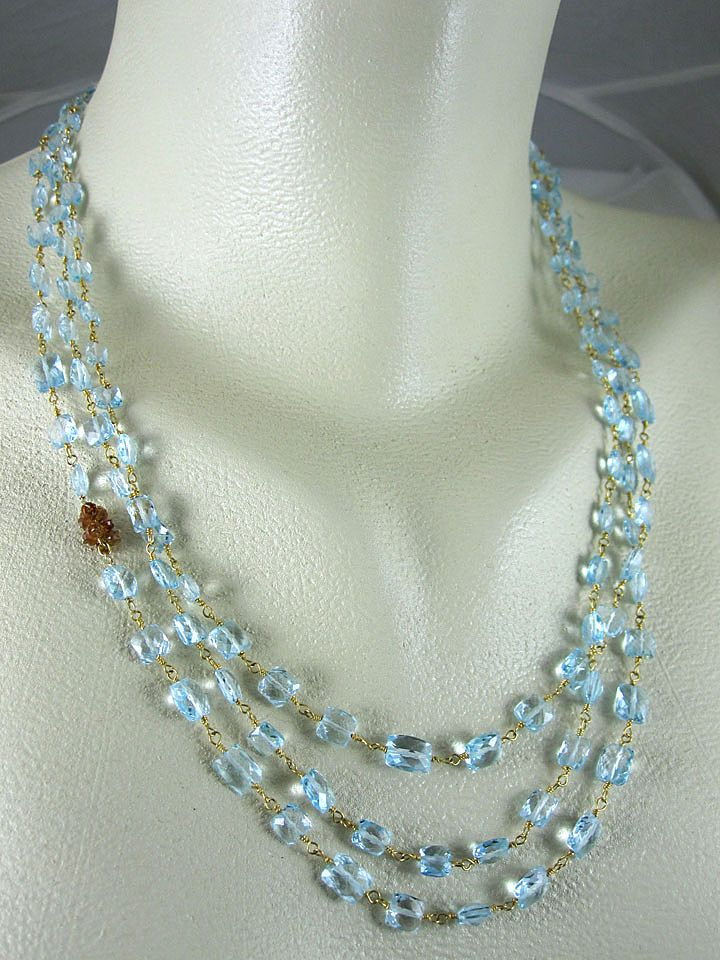 "14K Gold Filled~ AAA Triple Strand Swiss Blue Topaz w/ Hessonite cluster ""Ava"" Necklace"