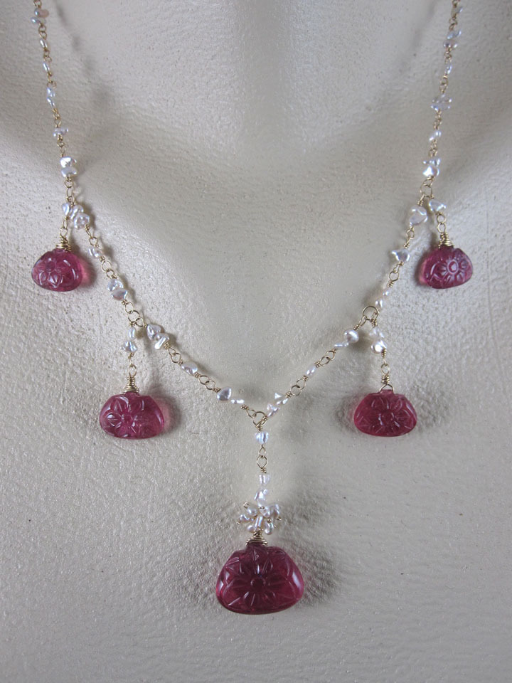14K Solid Gold~ AAA Floral carved Rubellite & Keishi Pearl Necklace
