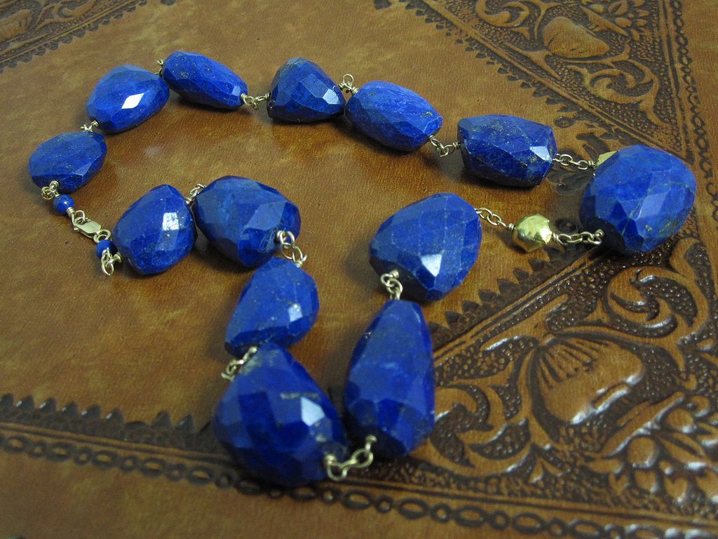 14K & 18K Solid Gold~ AAA Afghani Lapis Necklace~ one-of-a-kind