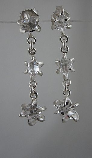 "Pure Silver ""Captured"" Herkimer Diamond Earrings~2011"