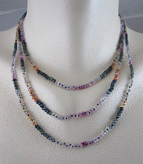 18K Solid Gold~ Triple-Strand Multi-Sapphire Necklace