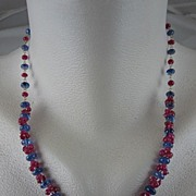 "Solid 18K Gold~ AAA Periwinkle blue Tanzanite & Pink Sapphire ""Cluster"" necklace"