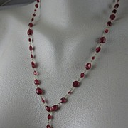 "18K Solid Gold~ Red Spinel ""Leaf"" Necklace~NEW 2011"