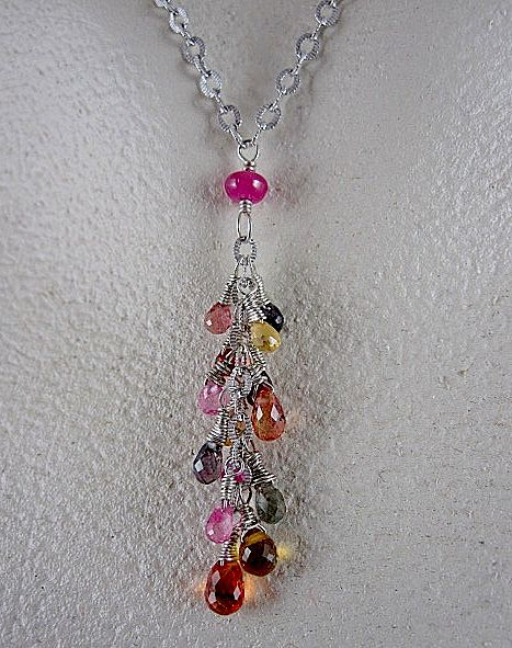 14K White Gold~ Multi-color Natural Sapphire Necklace