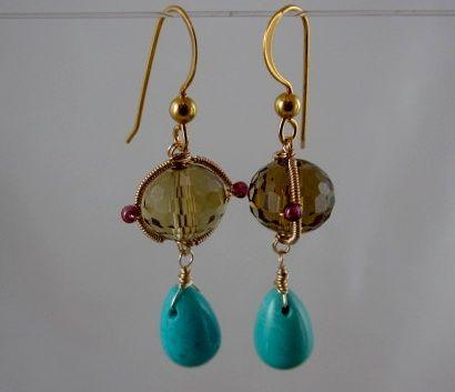 14k & 18k solid gold~AAA Topaz & Sleeping Beauty Turquoise Earrings~2012