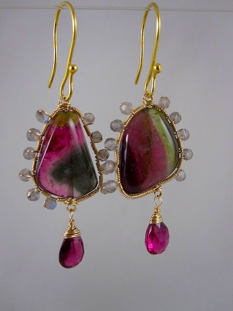 "14k & 18K Solid Gold~ AAA Watermelon Tourmaline ""sunburst"" earrings~ New 2012"