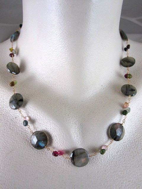 14K & 22K Solid Gold~ AAA Blue Flash Labradorite & Tourmaline Necklace~new 2012