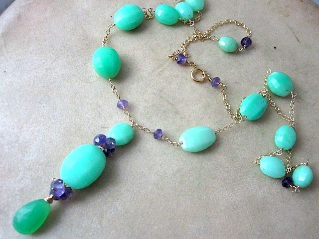 14K & 18K Solid Gold~ AAA Chrysoprase & African Amethyst Necklace~ new 2012