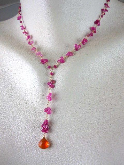 18K & 14K Solid Gold~ AAA Raspberry Sapphires & Mandarin Garnet Necklace~ new!