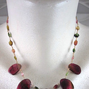 "14K Solid Gold~ Watermelon Tourmaline ""Queens"" Necklace~2012"