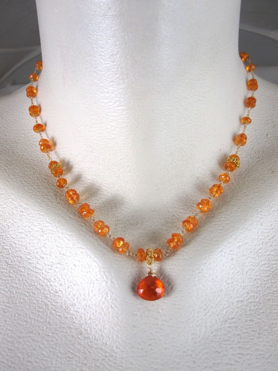 18K Solid Gold~AAA Mandarin Garnet (spessartite) necklace~ New 2012 only one!