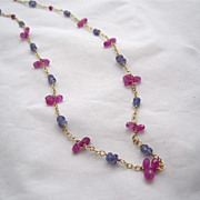 18K Solid Gold~AAA Pink Sapphire & Periwinkle blue Tanzanite Necklace