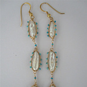 "18k Solid Gold~ Biwa Pearl & Arizona Turquoise ""Amoeba"" Earrings"