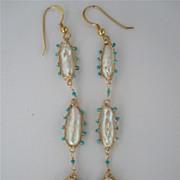 "18k Solid Gold~ Biwa Pearl & Arizona Turquoise ""Amoeba"" Earrings"