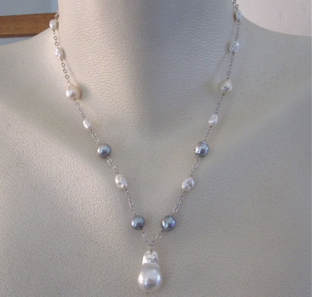 14K White Gold~ Multitude of Pearls Necklace ~2014